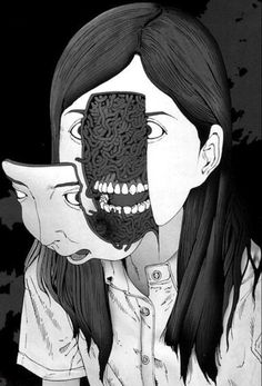 Face Off #white #girl #horror #black #hair #illustration #and #face #scary
