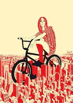 Raid71 #woman #city #retro #illustration #art #bike #fashion #nyc