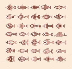 fishes #icon #collection #fish #set #vintage #logo