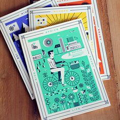 Seasons Martin Azambuja Letterpress Set #holstee #illustration #cards