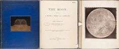 From left to right: the front cover, title page and Plate IV from the first edition (1874) of James Nasmyth's The moon. #classic #book #volume #illustration #vintage #moon