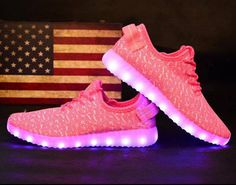 Light Up Shoes 7 Colors LED Flashing Luminous Light Up Shoes Pink Sneaker