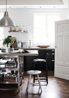 Kevin H. Chung #tiles #white #home #stool #kitchen
