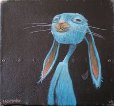 brett superstar art: BLUE RABBIT SUIT CASE sold #blue