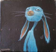 brett superstar art: BLUE RABBIT SUIT CASE sold #blue