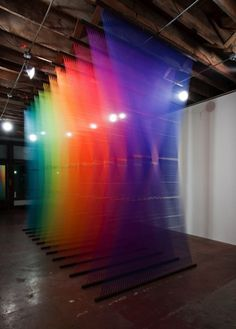 Rainbow Thread Installations #art #installation #color #thread