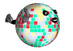 illustration, party animal, disco, mirror ball, fish