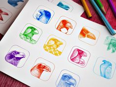 Sketching #icon #ramotion #ios7 #design #drawing #icons #appstore #colored #illustration #app #painting #sketches #ios #pencil #raven