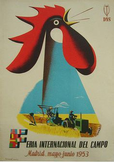 original vintage poster 1953 feria internacional campo madrid rooster anonymous #cockeral