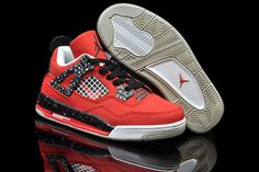"Kids Jordans""Toro Bravo\"" Shoes 4(IV) Nike Basketball Shoes Fire Red and White and Black"