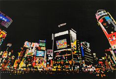 Tokyo's neon cityscapes recreated with thousands of dot stickers | The Verge #dots #tokyo