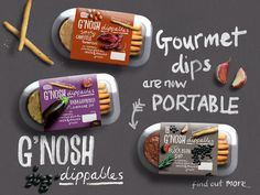G'nosh Gourmet dips without the fuss #typography #packaging #gnosh