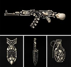 The Bones of War: Weapons of human bones #weapon #skeleton #bone #sculpting