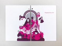 Som | Hey #font #vector #around #magenta #wrap #geometric #clean #simple #illustration