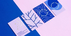 Manon's Personal Identity showcases the business card and augmented reality designs by the Montreal-based graphic designer, Manon Louart. The branding makes use of a blue/purple-toned colour palette, combining pastel violet shades with deep royal blue, along with gold foil. Organic print pattern designs are animated for mobile and web viewing. For more of the most beautiful designs visit mindsparklemag.com