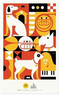 grain edit · Pets Rock Posters #piano #hour #rock #eight #geometric #illustration #horn #day #music #pets #dog
