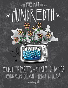 A tour admat I recently designed/illustrated for my dudes in Hundredth. #design #illustration #tv #type #layout #drawing #hundreth #flowers #typography