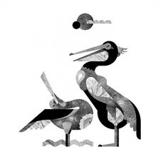 SOUND CREATURES - JANINE REWELL #rewell #white #janine #photo #black #geometric #bird #fill #illustration #and
