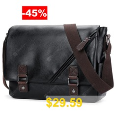 Fashion #Casual #Men #Shoulder #Bag #Diagonal #Leather #Bag #- #BLACK