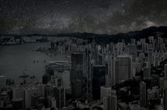Hong Kong in the night with amazing stars