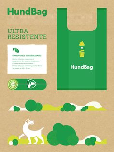 Visual system for Hundbag, dog waste bags. #logo #box #ecology #dog #bag #craft #green #illustration #print #typography