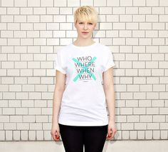 NATRI - CROSS TYPE - white t-shirt - women: who, where, when, why - whatever #modern #print #design #shirt #minimal #fashion #type #typography