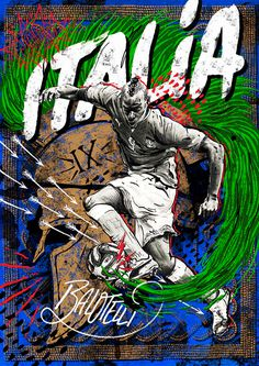 World Cup 14 -Italy/Balotelli #rome #balotelli #lettering #puma #ball #helmet #sports #poster #football #milan #italy