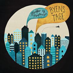 Michelle Carlslund cover illustration for Danish Stoffer & Maskinen single Byens Tage #houses #sky #city #danish #roofs #night #cover #fly #poster #music #light #cd #party
