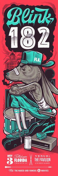 Blink182 Band Poster #Blink182 #Poster #GigPoster #Blink182 #Poster #GigPoster #Blink