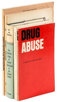 Small group of government reports on drug use and abuse in the 1960s Price Estimate: $200 $300 #cover #modern #book #typography