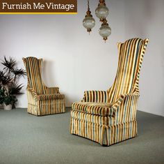 2 High Back Retro King Arms Chairs