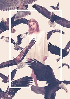Queens on Behance by Quentin Deronzier #girl #photo #birds #aigles #eagles