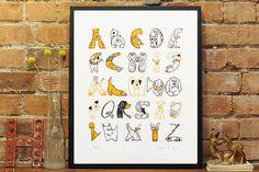 Dog A - Z screenprint #print #typography #screen #alphabet #dog