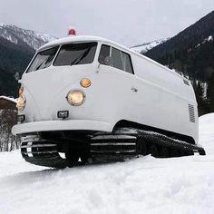 VW Snow tracks from VW van photo