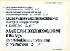 Engraver's Old English font specimen #type #specimen #typography