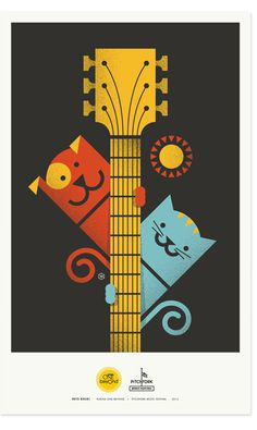 Zeus Jones - Purina ONE beyOnd - Pitchfork - Brent Couchman #illustration #poster #dog #cat #guitar