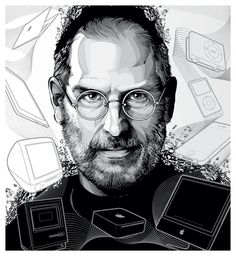 Portraits on the Behance Network #steve #apple #b&w #jobs #illustration #macinosh #portait #bw
