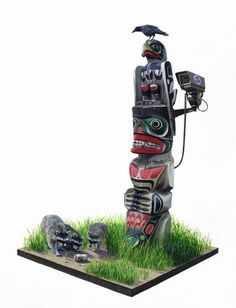 Josh Keyes, illustration #totem #toys #sculpture