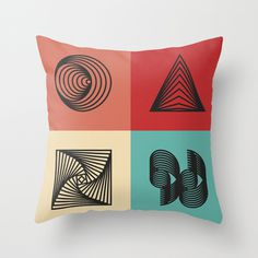 Sleepy Geometry 2013 #abstract #vector #red #lines #yellow #orange #geometric #pillow #blue
