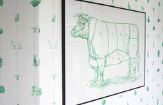 Bror Rudi Creative —Lux #interior #cow #restaurant #monochrome #food #illustration #wallpaper #animal #green