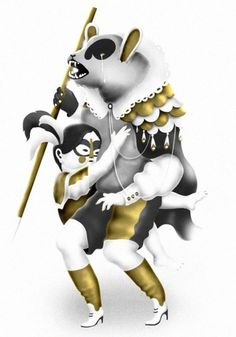 villesavimaa.com #savimaa #ville #girl #circus #fairytale #illustration #gold #bear #character