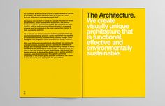 Y2 Architecture #helvetica #minimal #swiss #brochure #yellow #black #clean #circles
