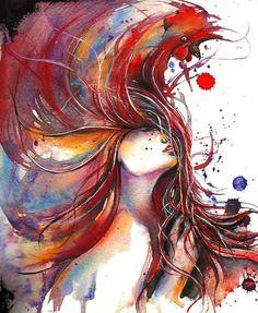 """Saatchi Online Artist: Dreya Novak; Watercolor, 2013, Painting """"Rooster"""""""