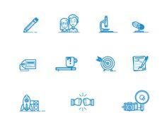 icons, blue, dribbble, set,