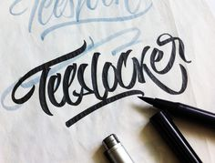 Calligraphi.ca — Sketching a t shirt lettering. Tombow dual brush pen, Copic multiliner — Sergey Shapiro #type