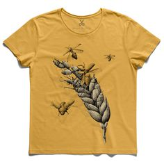 #tarwe #yellow #tee #tshirt #darwin #evolution #insect #fly #spike #wheat #drawing