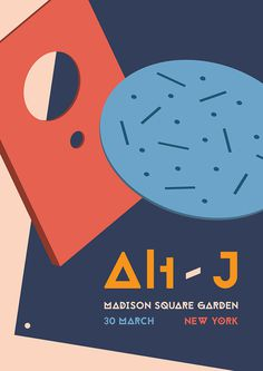 Alt-J Poster by James Kirkup #circle #alt-j #kirkup #red #york #cream #gig #cube #james #illustration #square #shape #poster #navy #garden #blue #madison #new