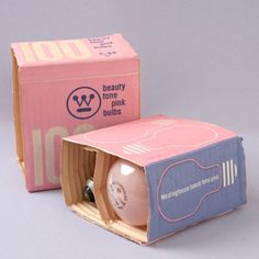 Westinghouse Light Bulb Packaging by Paul Rand #vintage #packaging #modernism #pink #paul rand #lightbulb #mid century modern