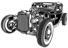 Black #hot #illustration #rod #car