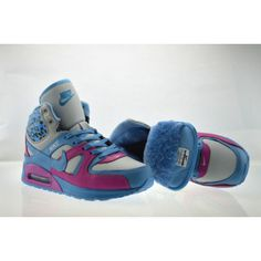 Womens Nike Air Max Shoes High Cut Fur for Winter Gray Blue Pink